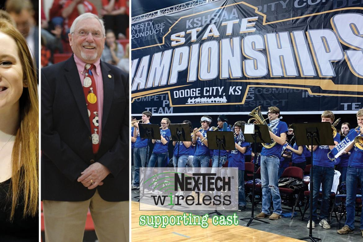 "St. John senior Melissa Williamson, McPherson's Carol Swenson and the South Gray Band were recognized as part of the Nex-Tech Wireless ""Supporting Cast"" for Spring 2019. (Photos by Dick Smith, Cindy Kinnamon and Everett Royer)"
