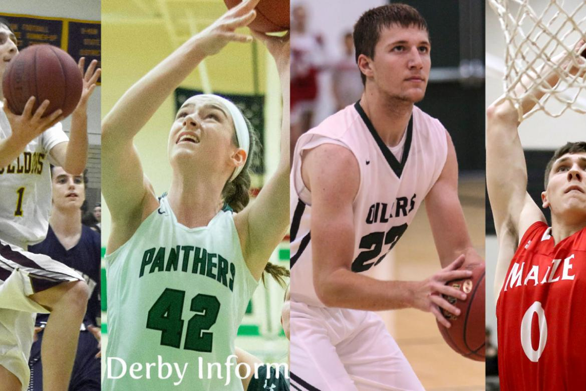 From left-to-right: Osborne's Steele Wolters scored 15 points as the Bulldogs survived Lebo 44-41; Kennedy Brown had 10 points, 10 boards and 4 blocks in just 17 minutes of play as Derby dominated SM NW 60-27; Central Plains' Brett Liebl scored 20 points in the Oilers' 55-30 win over Macksville; and Maize senior Caleb Grill put up 23 points with multiple dunks as the Eagles downed St. James 83-56. (Photo credit, left-to-right: Stephanie Baxa, Osborne County Farmer; Derby Informer; Joey Bahr; Dan Loving)