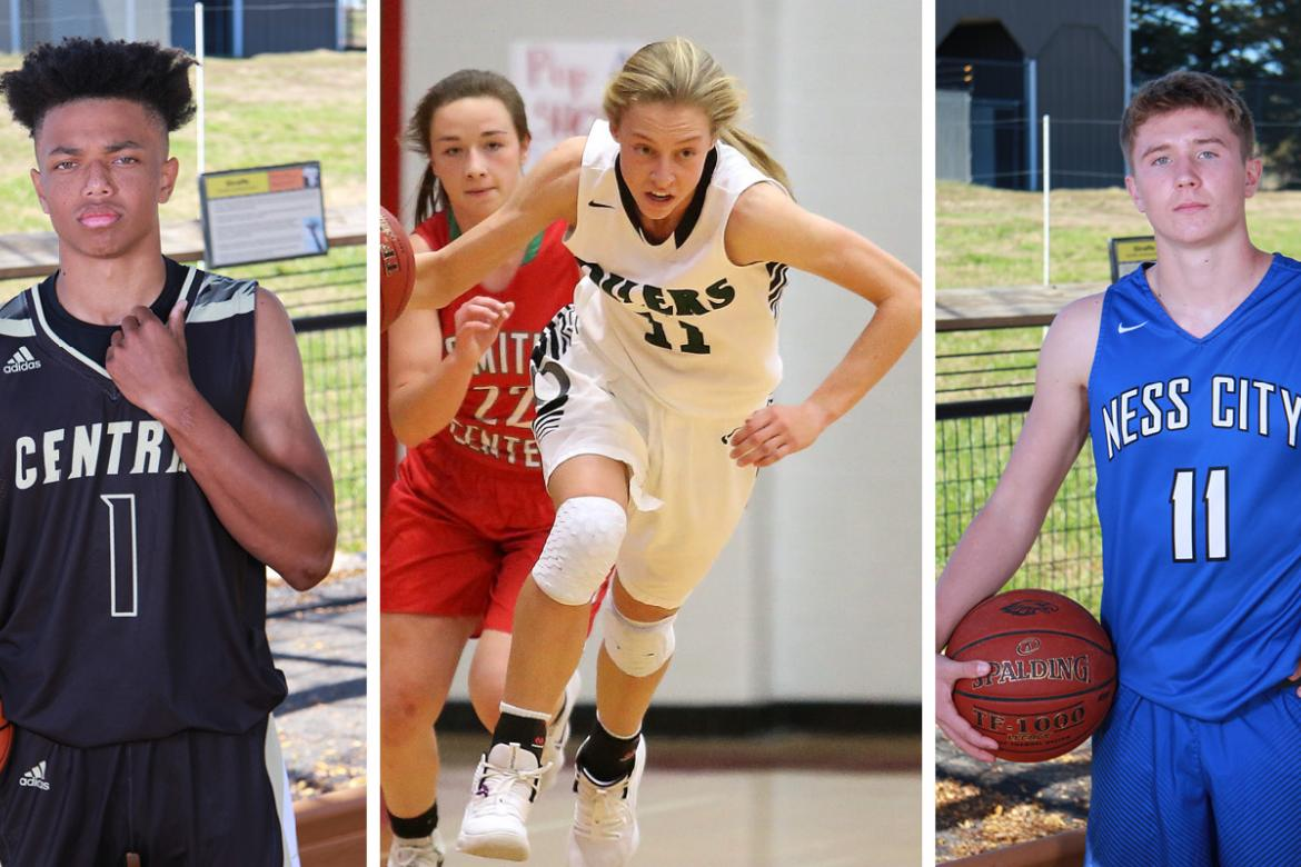 Cover athletes Xavier Bell (Andover Central junior), Emily Ryan (Central Plains junior), and John Pfannenstiel (Ness City senior) helped their teams to State Titles. (File Photos)