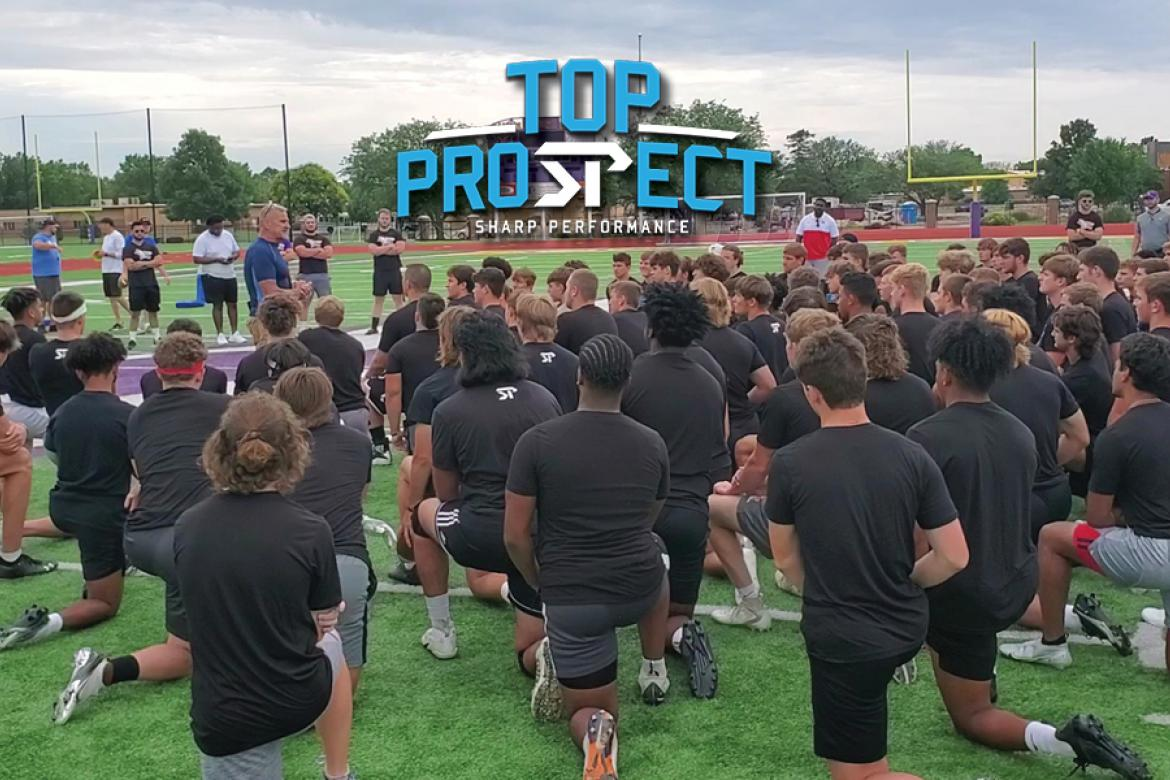 Former NFL strength coach Russ Riederer addresses the athletes prior to Monday's Top Prospect event at KWU. (Photo by John Baetz)